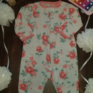 ❤4/$10  flower fleece footie pajamas